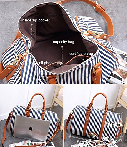 MooYang Women Fashionable Weekender Travel Duffle Tote Bag. Canvas Striped Bag for Overnight Trip,Work,College,Gym,Vacations. by MooYang (Image #4)