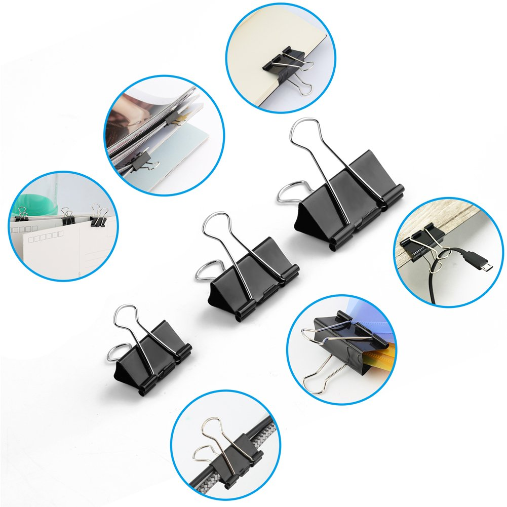 125pcs Binder Clips,Paper Clamp Clips for Letter Notes Paper Binder Office/School Supplies,Assorted Sizes by eQFeast (Image #3)
