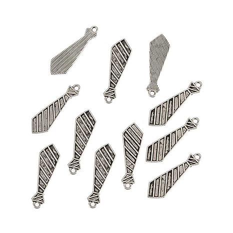 AKOAK 30 unidades de colgantes de corbata de tono plateado ...