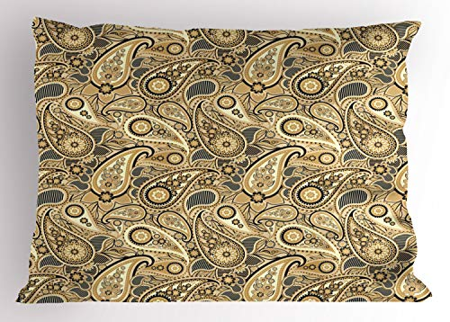 Ambesonne Earth Tones Pillow Sham, Iranian Pattern Traditional Asian Paisley Welsh Pears, Decorative Standard King Size Printed Pillowcase, 36 X 20 Inches, Charcoal Grey Pale Yellow Camel