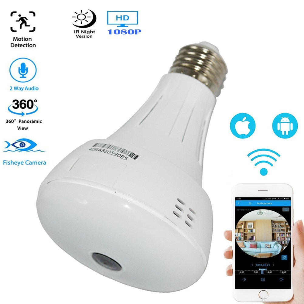 Douper All New Designed 2 in 1 WiFi Light Bulb Hidden Cameras 360 Degree Panoramic Monitor 3.0 Million Pixels 1080P HD Fisheye Camera for IOS Android APP Remote Home Smart Security System