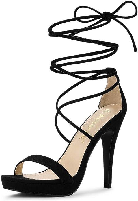 black stiletto lace-up heel sandals