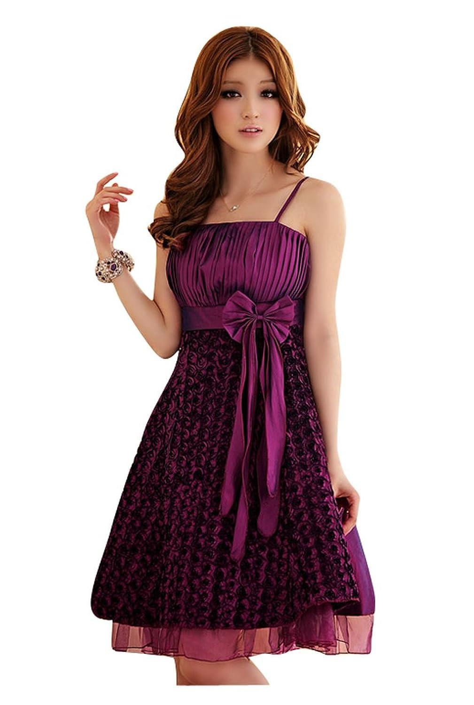9Fox Designer Partykleid Abendkleid Festkleid Trägerkleid Brautkleid Abiballkleider Brautjungernkleid Cocktailkleid Ballkleid Kleid Rot und Lila