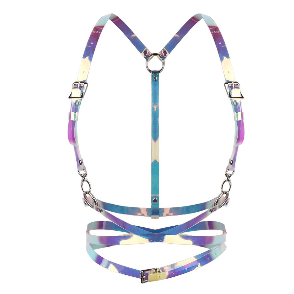 TiaoBug Women's Vinyl PVC Punk Style Rainbow Harness Adjustable Cage Waist Belt Straps