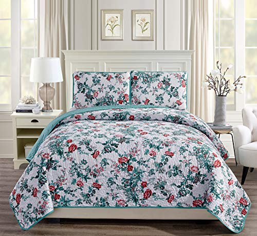 (Linen Plus King/California King 3pc Over Size Quilted Bedspread Floral White Teal Green Red Pink)