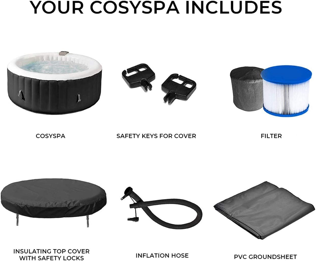 COSYSPA Inflatable Hot Tub SPA-Outdoor Bubble Jacuzzi