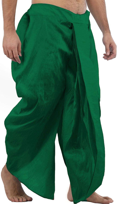 Maenner-Dhoti-Dupion-Silk-Plain-handgefertigt-fuer-Pooja-Casual-Hochzeit-Wear Indexbild 7