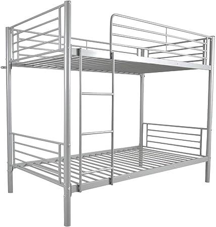 Litera B&T de metal resistente con escaleras de espacio debajo para niños, niñas, adolescentes, niños, recámara (gris): Amazon.es: Hogar