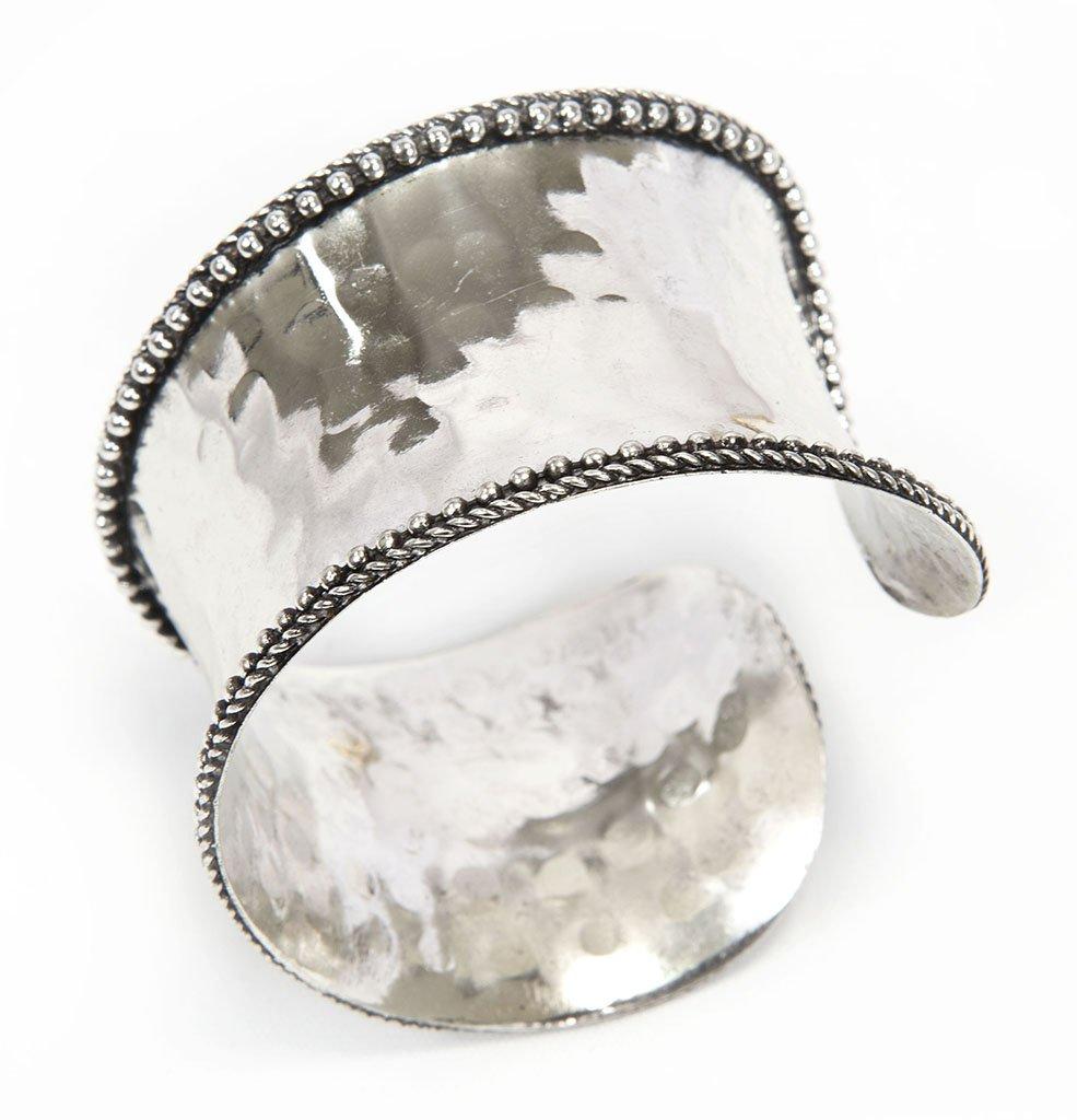 Rustic Style Cuff Bracelet Silver Tone