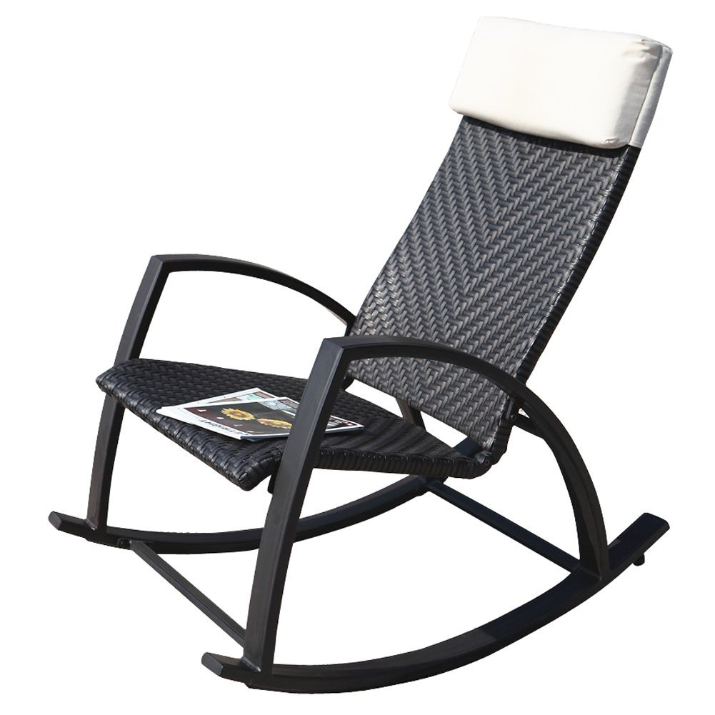 Amazon.com : Grand Patio Rattan Rocking Chair With Breathable Headrest,  Wood Grain Painted Arm, All Weatherproof : Garden U0026 Outdoor