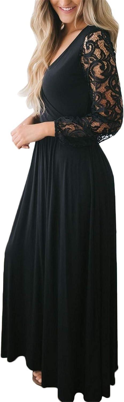 BesserBay Robe de soir/ée /à Manches Longues en Dentelle pour Femme