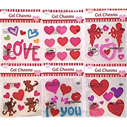 Valentine Red Pink Purple Aqua Window Clings Gel Decoration Pack: Conversation Hearts, Cupid, Love, Monkeys and More!