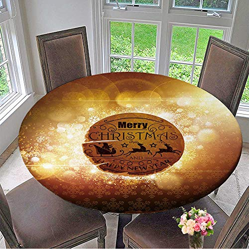 Mikihome Round Premium Table Cloth Christmas Retro Label on Abstract Background with Bright Rays of Sunlight Perfect for Indoor, Outdoor 59
