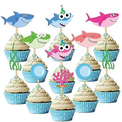 SAKOLLA 8 Pack Shark Birthday Cake Toppers Little Shark Cake Decorations for Kids Shark Theme Birthday Party Baby Shower