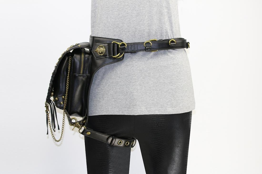 WPYZL Multi - functional women 's shoulder oblique cross - chain package punk pockets by Bumbag&KAIMENDAJI (Image #2)