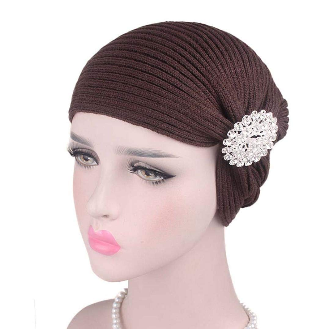 URIBAKE Women's Wool Cap Alloy Drill Accessories Wool Scarf Caps Chemotherapy Cap