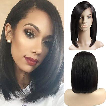 Peluca de pelo natural para mujer, malla frontal, cabello corto y liso, tipo