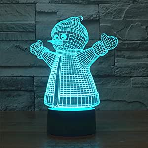 Christmas Smiley Snowman 3D Night Light Table Desk Lamp, Elstey 7 Color Changing Lights with Acrylic Flat & ABS Base & USB Charger (touch control)