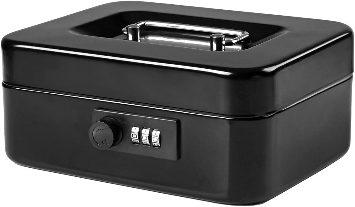 Jssmst Small Cash Box with Combination Lock – Durable Metal Cash Box with Money Tray Black,7.87 x 6.3 x 3.35 inches, CB0701M