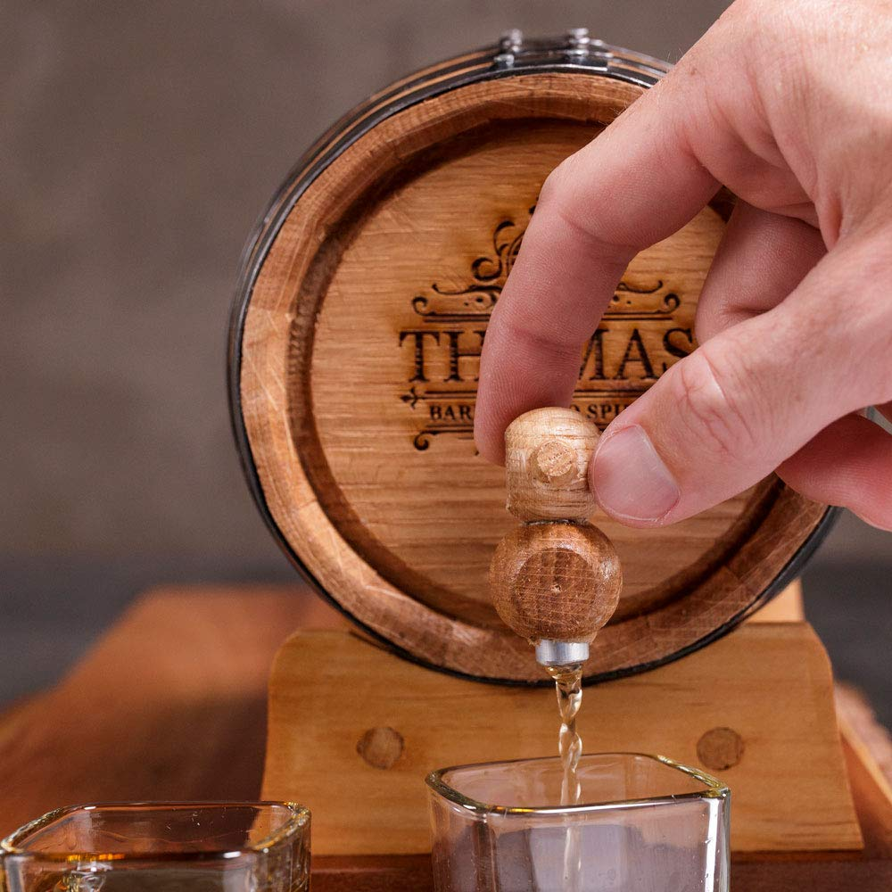 Includes Personalized American White Oak Barrel Great Drinking Gift For Men Stand Barrel Cleaning Kit /& More Personalized Whiskey Making Kit Essence Bottle 2 L. Spigot