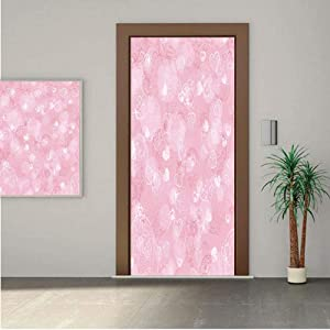 "Light Pink ONE Piece Door Stickers,Blurry Heart Icons with Flower Petals Inside Romantic Bridal Elegance Print 28x80"" Peel & Stick Removable Wall Mural,Decal,Poster for Door/Wall/Fridge Home Decor"