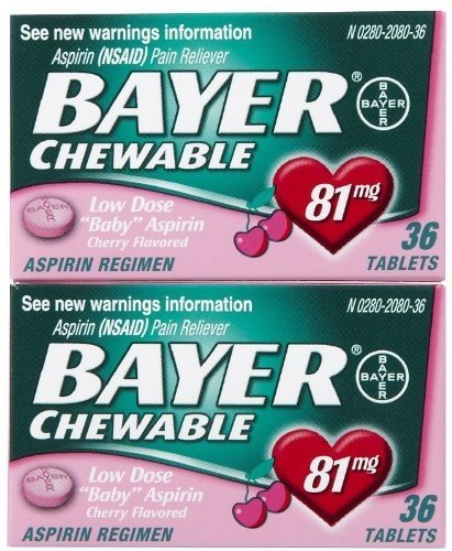 Bayer Chewable Low Dose Aspirin - Cherry Flavored - 81 mg - 36 Chewable Tablets Per Box - Pack of 6 Boxes (Cherry Chewable Medicine)