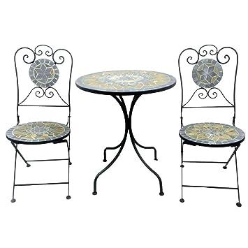 Ensemble de balcon 3 pièces en métal et mosaïque avec table de ...