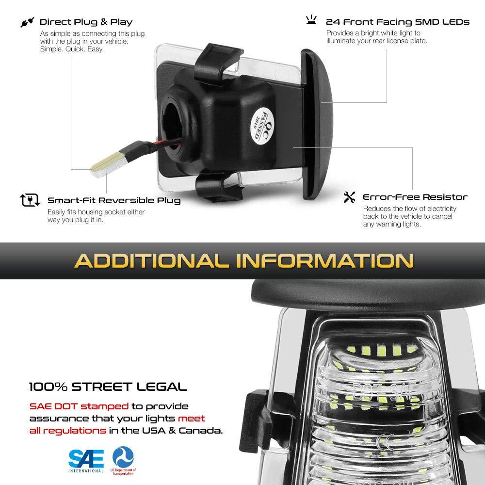 VIPMOTOZ Full LED License Plate Light Lamp Assembly Replacement For 2007-2018 Jeep JK Wrangler 6000K Diamond White 2-Pieces