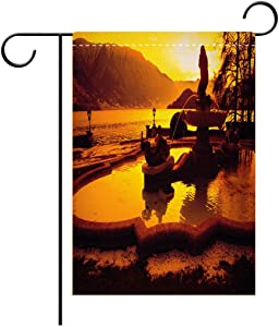 BEISISS 2-Sided Printing Holiday Garden Flag,Italian Decor Tremezzo at Sunset Mediterranean Famous Town Landmark European City Town Scendecorated for Outdoor Holiday Gardens