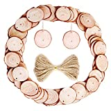 Caydo 50 Pieces 1.57-1.96 Inch Unfinished Predrilled Wood Slices with Holes Round Log Discs with 33 Feet Natrual Jute Twine for Christmas Ornaments and Home Hanging Decorations