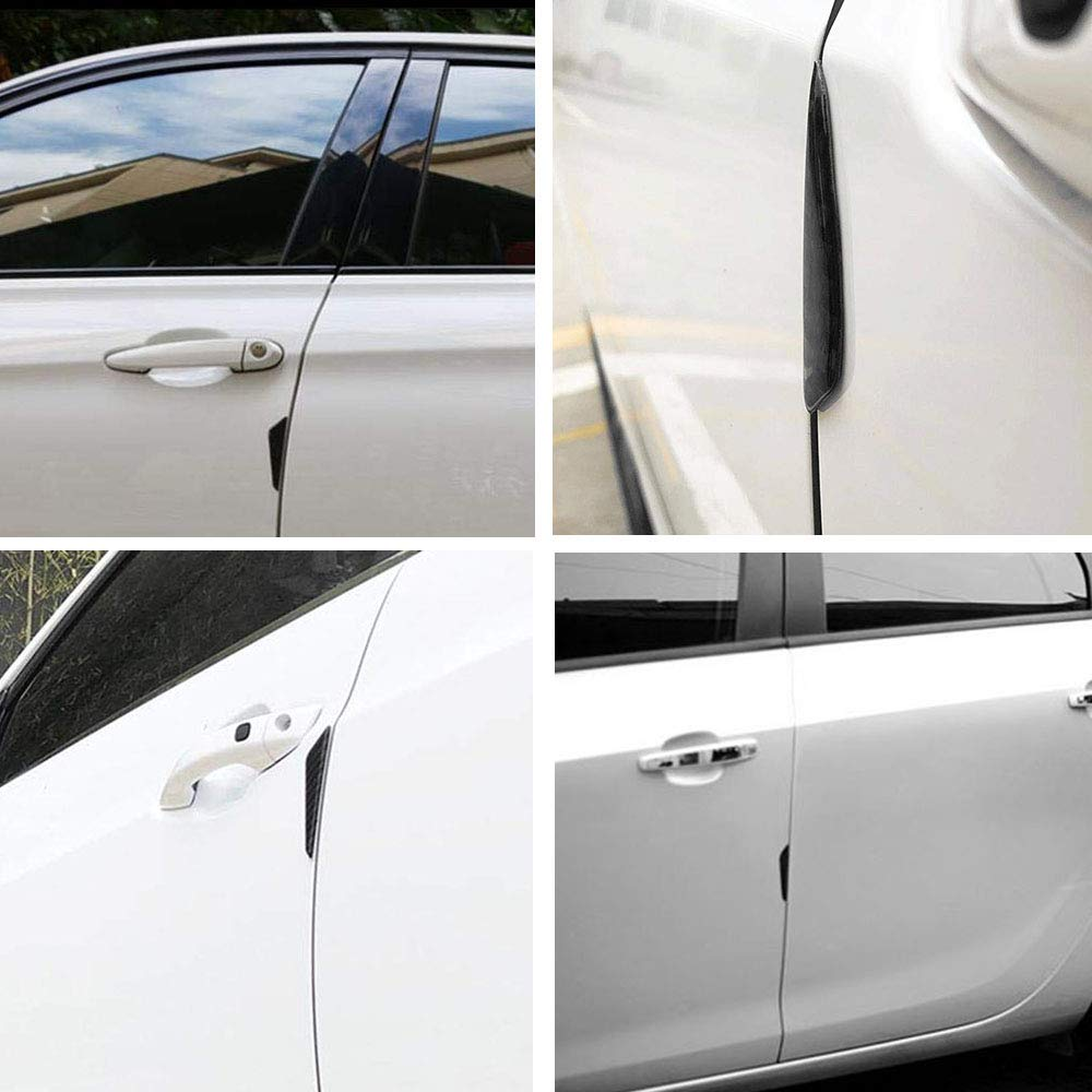 Black CoolKo Real Carbon Fiber Car Side Door Edge Scratch Protector Guard Stickers Protective Trims Modified Decoration Compatible with Model S and X