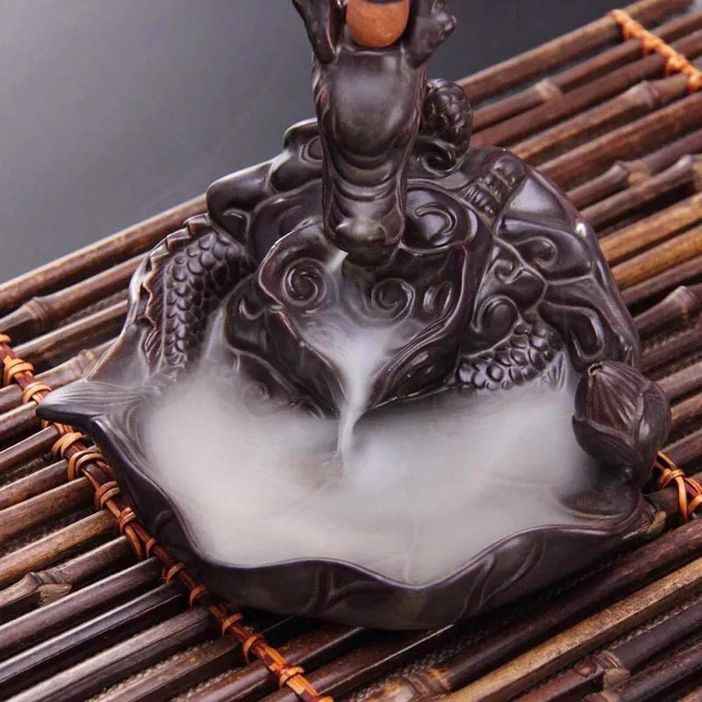 for Home Decor Aromatherapy Relaxation Gifts 20 Free Cones L!GHTUP Dragon Backflow Incense Burner Ceramic Incense Holder