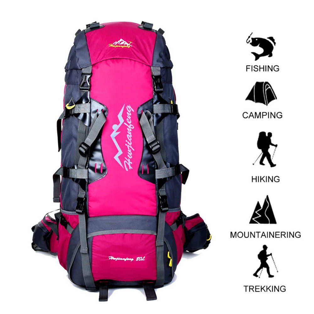 80 L Internal Frame Backpack Outdoor Waterproof Backpack Climbing Fishing Rucksack Hiking Daypack Camping Outdoor Trekking Mountaineering Bag with a Rain Cover (Blue) Goyho