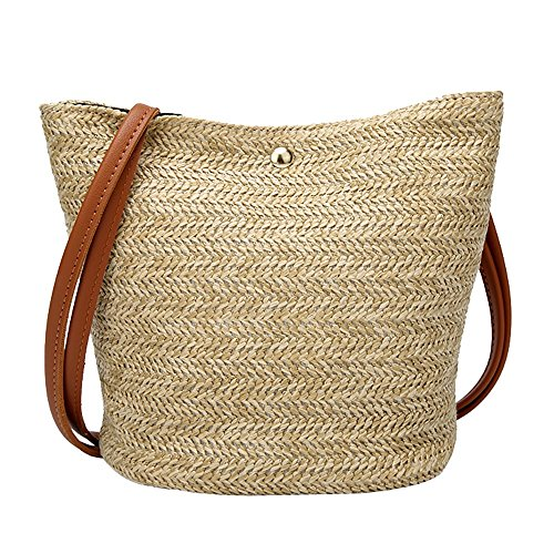 ❤️ Sunbona Messenger Bags Totes for Women Fashion Casual Shoulder Bag Straw Bags Woven Bucket Bag Handbag Organizer ()
