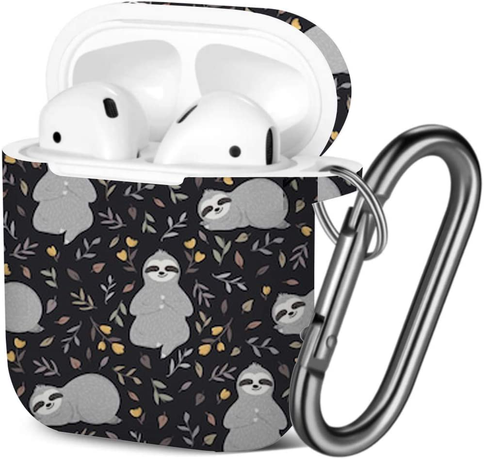 Cute Baby Sloths Shockproof Soft TPU Gel Case Cover with Keychain Carabiner for Apple AirPods Compatible with AirPods 2 and 1