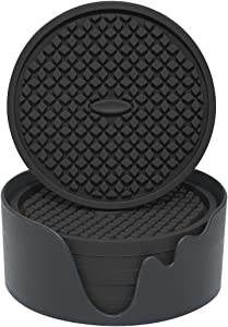 Bouseck Drink Coasters Set of 6 with Holder Silicone Cup Mat for Home/Office/Bar Large Soft Non-Slip Black