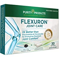 Flexuron Joint Formula by Purity Products - 3X Better Than Glucosamine and Chondroitin - Starts Working in just 7 Days - Krill Oil, Low Molecular Weight Hyaluronic Acid, Astaxanthin - 30 Count