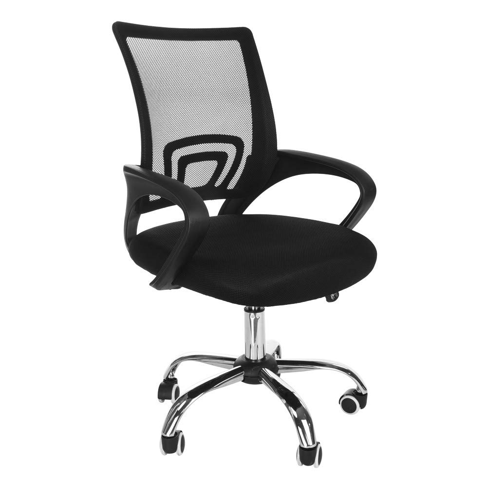 Naiflowers Mid-Back Desk Chair with Armrests, Black Mesh Office Task Chair Home Office Chair Modern Executive Swivel Rolling Chair Adjustable Height Chair by Naiflowers Chairs