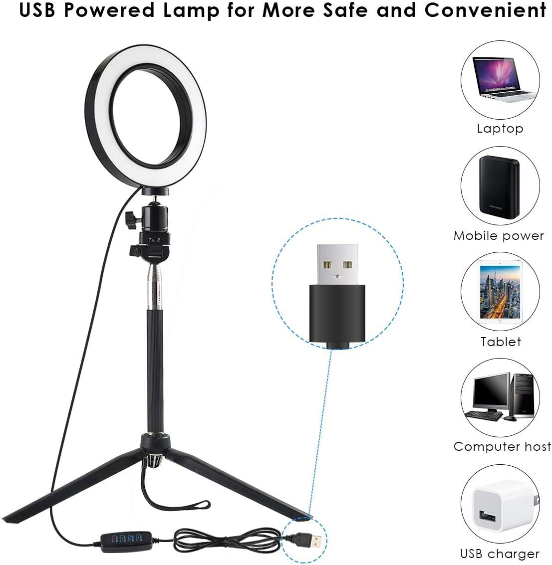 Color : Black Mini Photo Studio LED Camera Ring Light Dimmable Phone Video Lamp with Tripod Selfie Stick Fill Light for Live Makeup Lighting Video Shooting,Product Life Shooting,Live