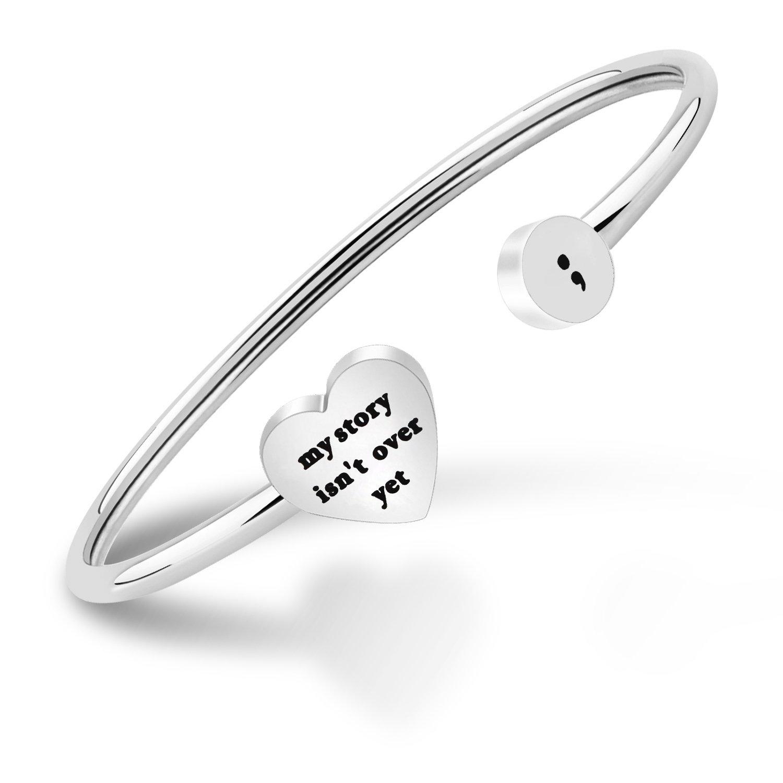 KUIYAI My Story isn't Over Yet Open Cuff Bracelet Semicolon Bracelet Suicide Prevention Jewelry B07DFHJK1H_US