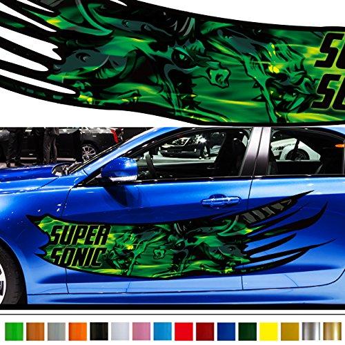 ドラゴンカーステッカーカラー31■炎バイナルグラフィックワイルドスピード系デカール車 B01N3OIJQ3