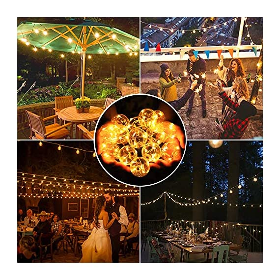 arzerlize String Lights Outdoor, 35FT G40 LED Light String Shatterproof 30 Bulbs E12 Base Decorative Lighting Hanging Patio Waterproof Outside Garden Backyard Bistro Porch Balcony Gazebo Party - [ PERFECT DECORATION ]: Shatterproof perfect decorative LED outdoor globe string lights for living room, patio, backyard, bistro, cafe, balcony, gazebo, garden, market, party, wedding, Christmas, or enjoy a romantic dinner with your lover, creating a sweet and romantic atmosphere for you [ OUTDOOR GLOBE STRING LIGHTS ]: Upgraded 35FT G40 outdoor patio hanging string lights with 30 + 2 replacement energy-saving bulbs-UL Standard. Perfect fit for indoor & outdoor multi occasions. Please Note: The Edison string lights bulb is not dimmable and cannot be connected. For the safety protection of low voltage(Only support 5V bulb) [ WATERPROOF & SHATTERPROOF ]: Waterproof and heavy-duty Acrylic material, lantern string lights can withstand the harsh weather even in heavy rain. High-quality wires and waterproof bulbs can keep the LED globe string lights working perfectly throughout the year - patio, outdoor-lights, outdoor-decor - 61%2BJ2C8UZ6L. SS570  -