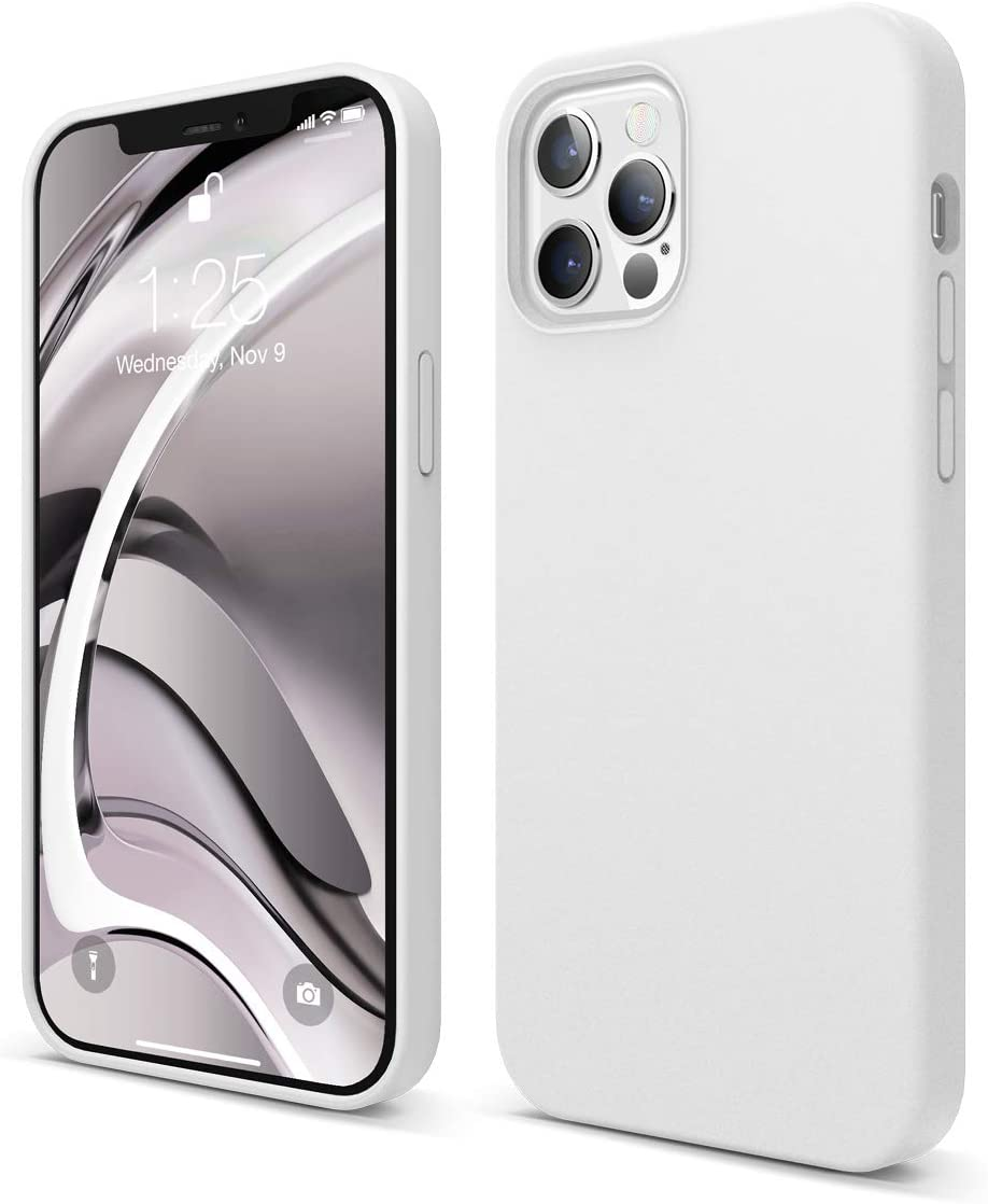 elago Liquid Silicone Case Compatible with iPhone 12 and Compatible with iPhone 12 Pro 6.1 Inch (White) - Full Body Protection (Screen & Camera Protection)