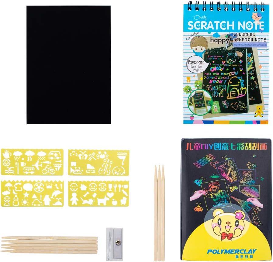 NBEADS Arte de Rascar, 3 Sets Scratch Note 7 Hojas de Papel de Dibujo 4 Piezas Plantilla de Dibujo con Lápiz de Lápiz Y Sacapuntas Mini Regalo de Dibujo para Proyecto Escolar Y Viaje Familiar