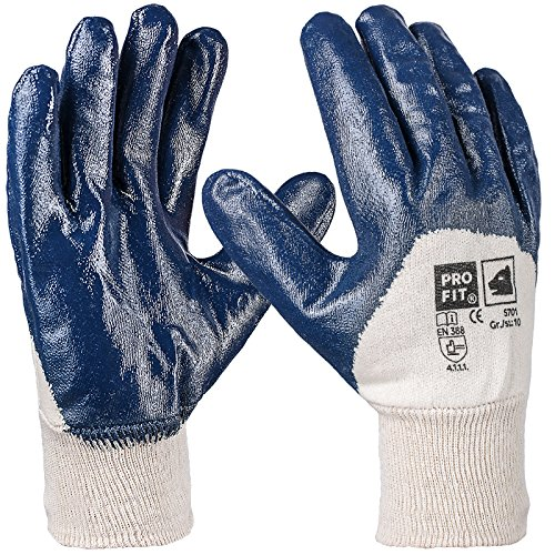 Pro FIT 12 Paar - Basic Nitril-Handschuh, blau, 3/4 Beschichtet, Strickbund 10 Fitzner-Arbeitsschutz