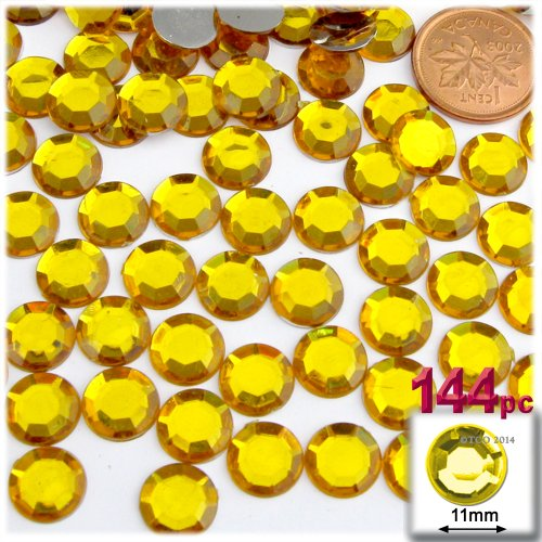 The Crafts Outlet 144-Piece Flatback Round Rhinestones, 11mm, Golden Yellow ()