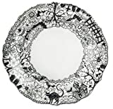 222 Fifth Wiccan Lace Dinner Plates, Set of 4, Black White Halloween Cat Bat Witch