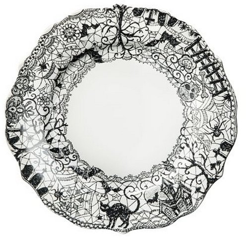 222 Fifth Wiccan Lace Dinner Plates, Set of 4, Black White Halloween Cat Bat Witch by 222 Fifth