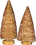 Primitives By Kathy 6 Inches Tall 9 Inches Tall Bristle Wood Sisal Set of 2 Copper Glitter Christmas Trees