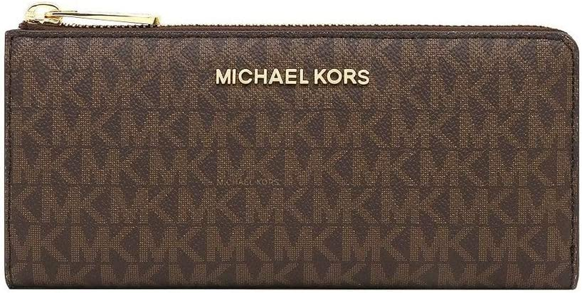 Michael Kors Women's Jet Set Travel Large Three Quarter Zip Wallet Brown Signature PVC